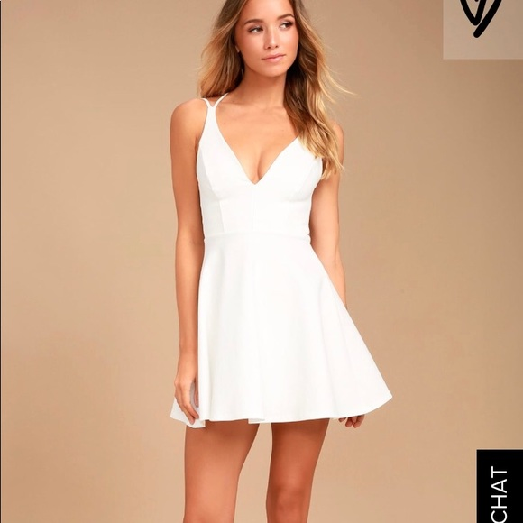 178b5c1e4c Lulu s Believe in Love White Backless Skater Dress